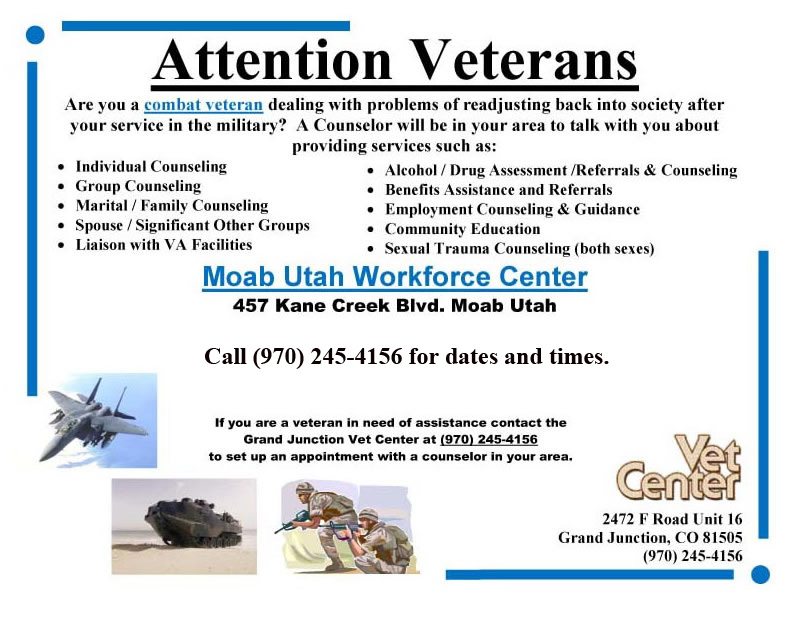 The Vet Center in Grand Junction is sending counsellors to Moab to help local Vets.vet.