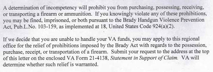 Excerpt from a VA form letter